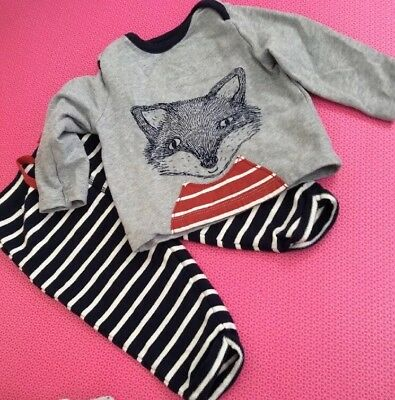 Baby Boden 3-6 Months Boys Fox Top And Bottoms