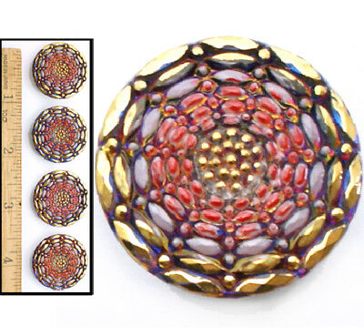 27mm Vintage Czech Glass Opal Coral Gold Mirror Fire AB Spider WEB Buttons 4pc