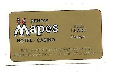 Mapes Casino Business Card Reno, Nevada   Open from 1947-1982