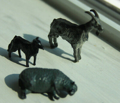 3 Britains Metal Sheep Goat Dog Farmyard Farm Animals Barnyard