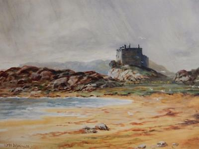REALLY old PAINTING oil loch castle signed WM B Mitchell