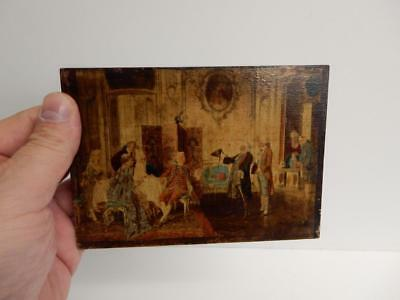 really old painting picture miniature 18th Century parlour scene