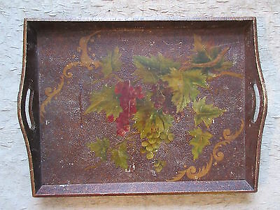 Antique Wooden Serving Tray Impressed & Handpainted Grapes Design