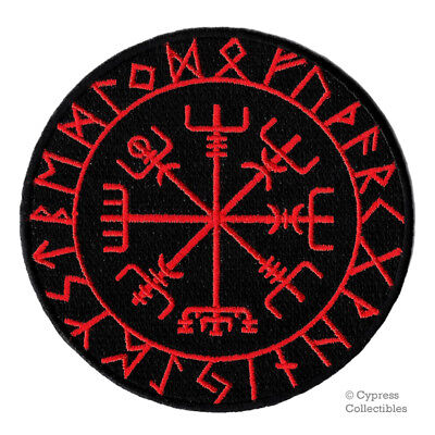 VIKING COMPASS PATCH Vegvisir IRON-ON EMBROIDERED ICELANDIC NORSE RUNE - RED