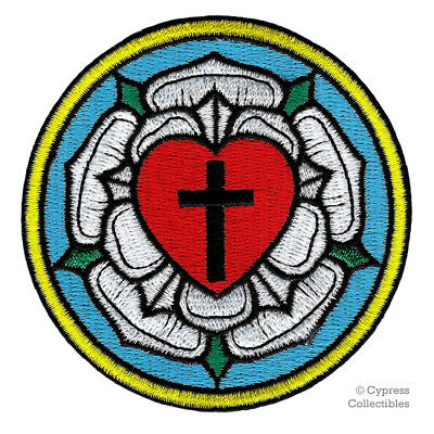LUTHER ROSE EMBROIDERED PATCH LUTHERAN CHURCH IRON-ON CHRISTIAN CROSS BIKER new