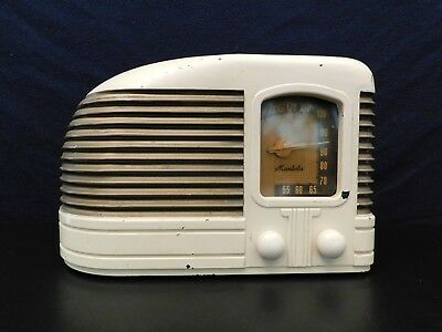 VINTAGE 1940s OLD MANTOLA MACHINE AGE ULTRA ART DECO ANTIQUE BAKELITE OLD RADIO