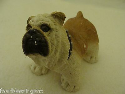 Resin Standing Bulldog Figurine-Glass Eyes-Tan & White-Collar