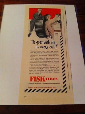 Vintage 1944 FISK Tires Doctor With Stethoscope Little Fisk Boy Print Art ad