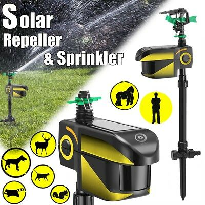 Digoo Solar Motion Activated Animal Repeller 360° Auto-rotate Water Sprinkler