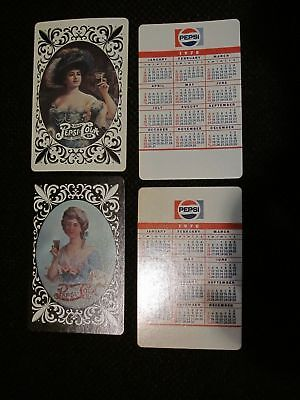 1978 Pepsi-Cola Company adv.pocket calendar card with Victorian Ladies!  Two Dif