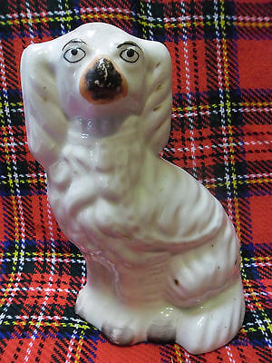 "7 "" (18cm) ANTIQUE 19TH CENTURY STAFFORDSHIRE KING CHARLES SPANIEL DOG FIGURINE"