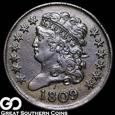 1809 Half Cent, Classic Head, Nice Choice AU++ Early Date Copper!