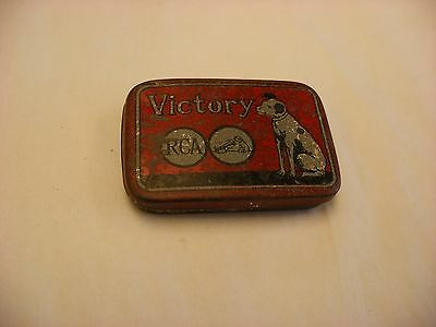 Phonograph Gramophone Needle Tin - RCA Victor Victory Red