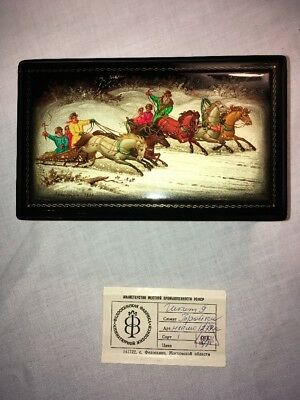 Vintage Russian Sleeping Beauty Lacquer Box, Signed Estate