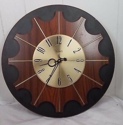 Vtg Verichron Clock mid century eames era retro MCM Wood Sunburst wall