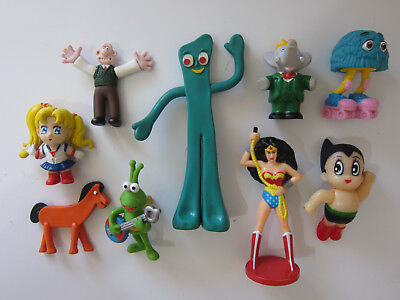 Lot x Collectable Character Figures - Gumby / Astro Boy / Babar / Sailor Moon +