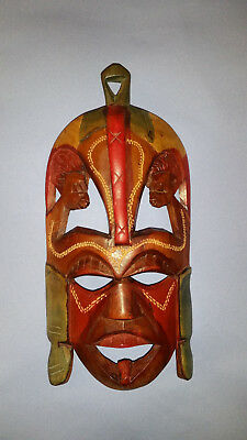 Hand-Carved Wooden Tribal Mask Made in Kenya Approximately 9.5 inches