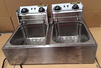 Commercial Electric Deep Fryer Twin Frying Basket Chip Cooker Fry