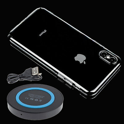 Qi Wireless Charger Charging Pad + Hard Clear Case For Apple iPhone, X 10 8 Plus