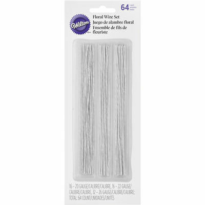 Wilton Floral Wire Decorating 64-Piece Set Stems Leaves Petals 20, 22, 26 Gauge