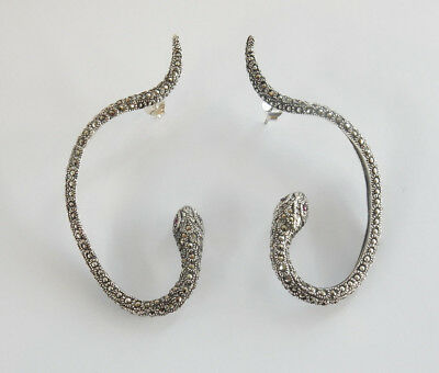 Solid Silver Ruby & Marcasite Serpent Snake Droplet Earrings Hallmarked