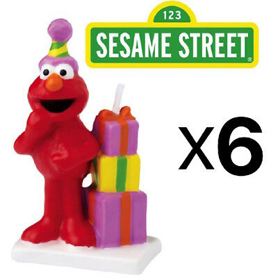 Wilton Elmo Sesame Street Birthday Cake Candle Topper, Handpainted (6-Pack)