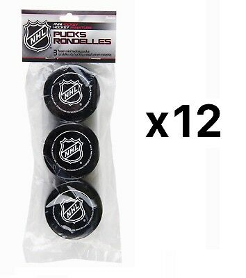 Franklin Sports NHL Soft Sponge Foam Mini Knee Hockey Pucks 3 Pieces (12-Pack)