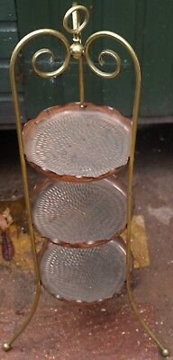 Fantastic Looking Brass & Copper Arts & Crafts 3 Tier Cake Stand