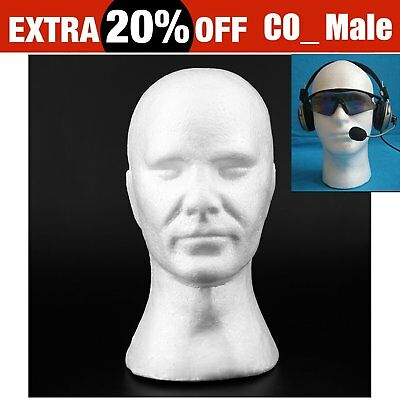 CO_ Male Styrofoam Manikin Head Model Wig Display Stand Serap Foam Mannequin OZ