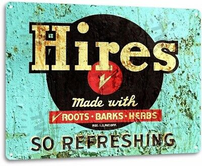 Hires Refreshing Vintage Retro Tin Metal Sign