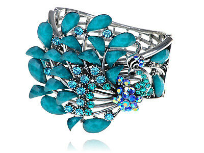 Silver Turquoise Blue CZ Gemstone Vintage Peacock Bird Cuff Bracelet Alloy Band