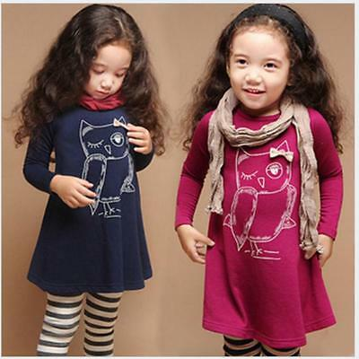 Owl Toddler Baby Girls Dress Long Sleeve Princess Party Dresses Kid Clothes B