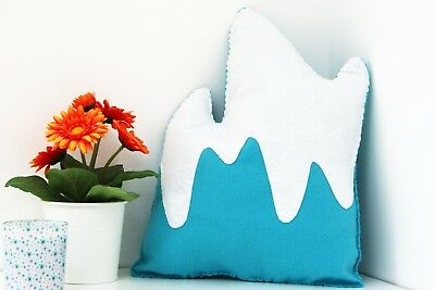 Blue Mountain Cushion Plush Pillow Kids Bedroom Decor Adventure Baby Nursery