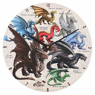 New Age Of Dragons Clock Anne Stokes Art Wall Clock Dragon World Species 34Cm