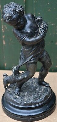Large Very Detailed Dirty Metal Figure On Base Of Child With Dog To Clean Up