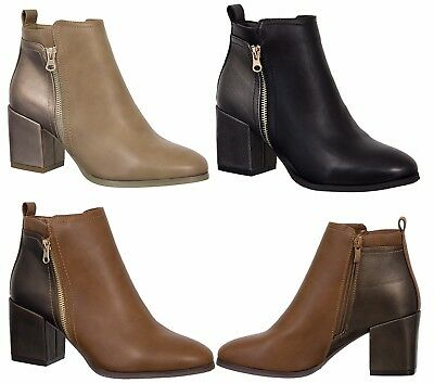 Womens Ankle PU Boots Chunky Shoe Block Mid Heel Ladies Faux Leather Zip Up Wide