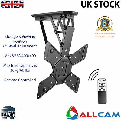 Allcam Electric Motorised TV Bracket Ceiling Mount w/ Storage & Viewing Position