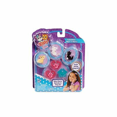 Kitty in My Pocket 3 Charm Kitties Barrette and Ring Set (Blue)