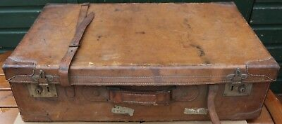 Spl;endid Large Very Old Leather Suitcase To Tidy Up