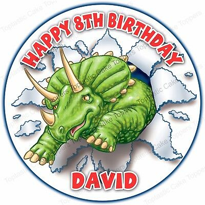 Personalised Triceratops Dinosaur Edible Icing Birthday Party Cake Topper