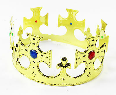 Gold Jewelled Plastic Crown King Royal Majesty Kids Fancy Dress Christmas Props