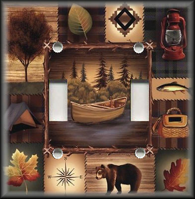 Metal Light Switch Plate Cover - Rustic Bear Nature Lodge Cabin Home Decor 01