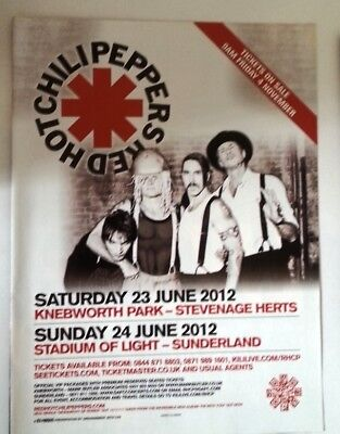 RED HOT CHILI PEPPERS 2012 UK Tour magazine ADVERT / Poster 11x8 inches