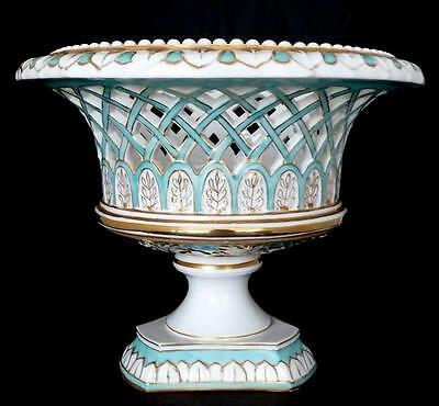 """Old Paris Center Bowl, Reticulated Compote 8.5"""" h. Antique French Bowl on Stand"""