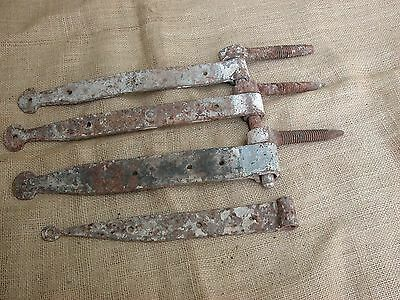 LOT #2  of 4 ANTIQUE HAND FORGED IRON STRAP HINGES ARCHITECTURAL RESTORATION