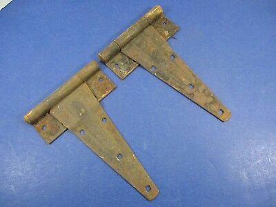Antique Matched Pair Gate Barn Door Hinges Great Patina Rustic Heavy VS22/H2