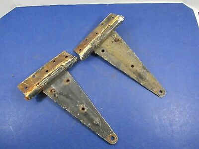 Antique Matched Pair Gate Barn Door Hinges Great Patina Rustic Heavy VS22/H4