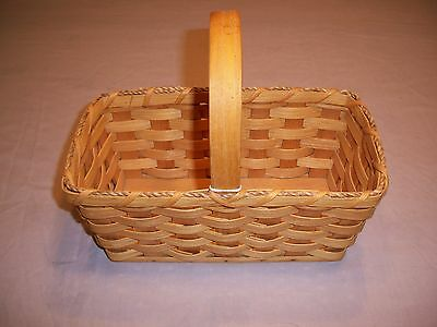 Basket Amish Made Reed Plain Jelly Basket with Stationary Handle In Stock