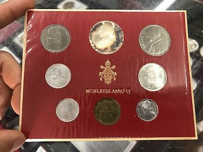 1968 Vatican City Italy 8-Coin Silver Mint Set + Packaging Deep Blue Fire Toning