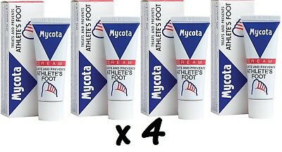 4 x Mycota Athletes Foot Cream Treats And Prevents Athletes Foot 25g Each